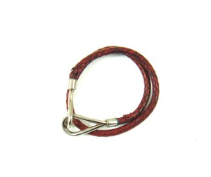 Herms Silver/Red Leather Jumbo Hook Double Wrap Bracelet France w/ Box