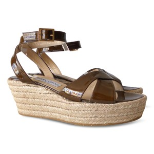 Jimmy Choo Platform Patent Leather Leather Espadrille Brown Wedges