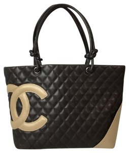 Chanel Cambon Lambskin Large Flap Le-boy Tote in Brown