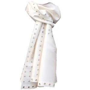 Other Silk Taffeta Oblong Scarf with Eyelets