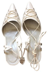 BCBGeneration Leather Sexy Ballet Tie Up White Formal