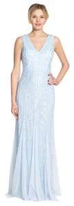 Adrianna Papell Beaded V-neck Trumpet Gown Mesh Dress