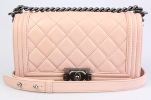 Chanel Medium Le Boy Pink Lambskin Shoulder Bag