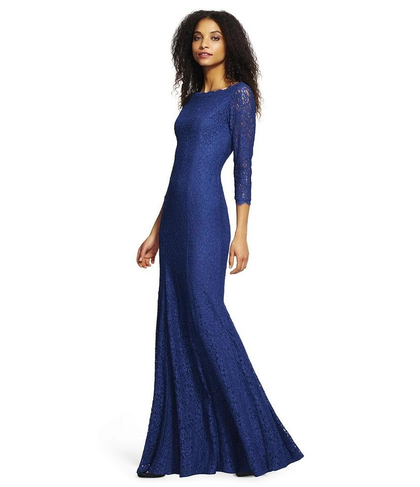 0c7c2e87191 Adrianna Papell Prussian Blue Lace Mermaid Gown with Three Quarter ...