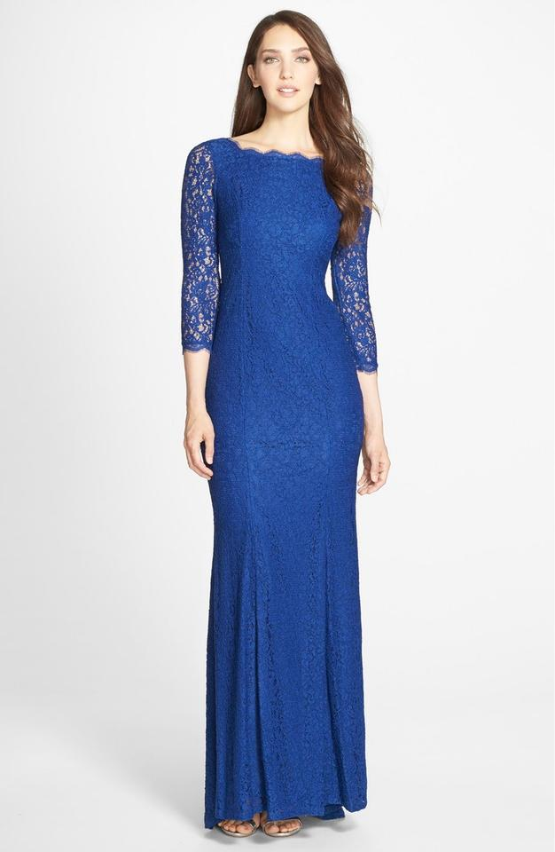 Adrianna Papell Prussian Blue Lace Mermaid Gown With Three Quarter