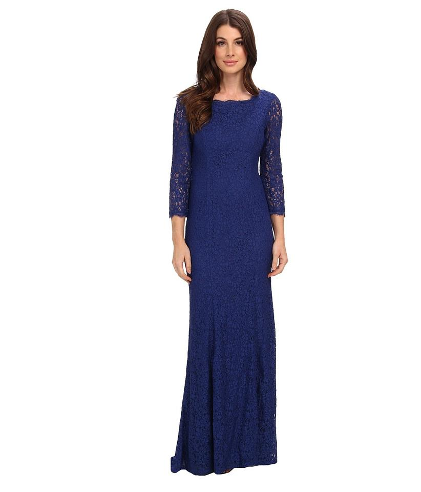 Adrianna Papell Prussian Blue Lace Mermaid Gown with Three Quarter ...