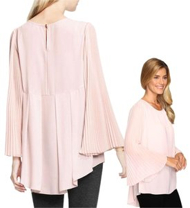 Vince Camuto Pleated Tunic Chiffon Top Rose Petal Pink