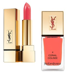 Saint Laurent Lipstick N. 52 Rouge Rose Nail Polish N. 4 Corail Colisee Coral set