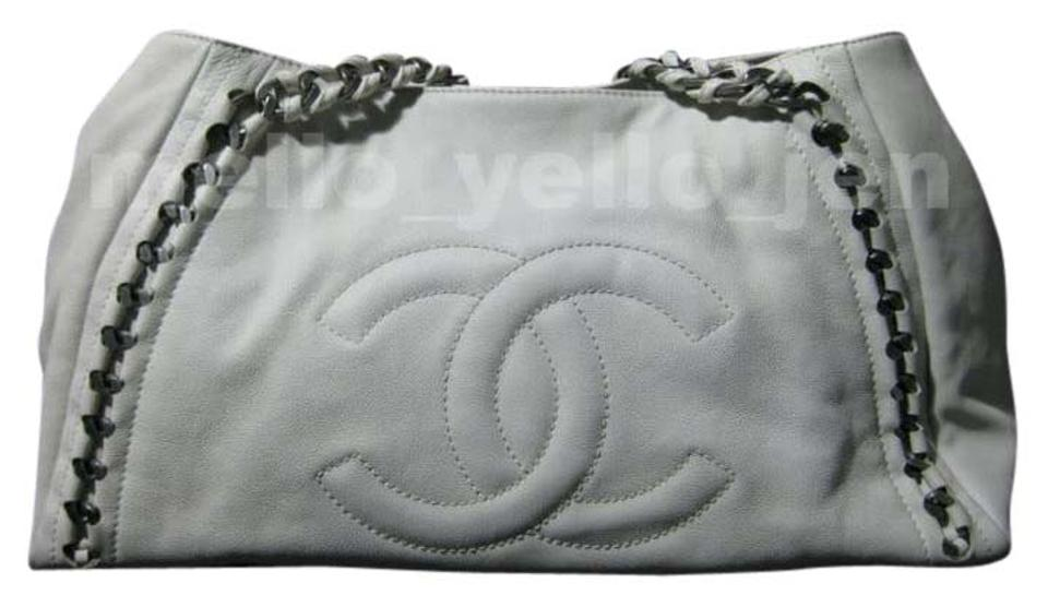 65fe21988856 Chanel East West 06a Modern Chain Calfskin White Leather Tote - Tradesy