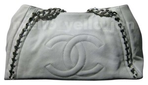 Chanel Leather Monogram Casual Edgy Rocker Tote in White