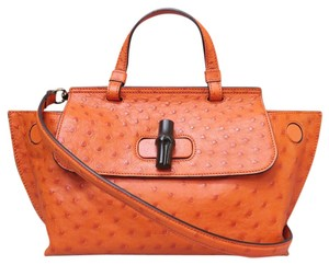 Gucci Ostrich Bamboo Daily Satchel in orange