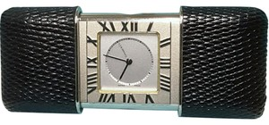 Tiffany & Co. Tiffany & Co. Atlas Travel Alarm Clock with a black leather case