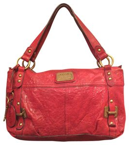 Fossil Leather Gold Hardware Satchel in Red