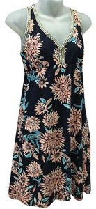 Lucky Brand short dress Navy with pink flowers on Tradesy