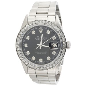 Rolex Mens Diamond Watch 36mm DateJust Oyster Band Black Dial 2 Ct.