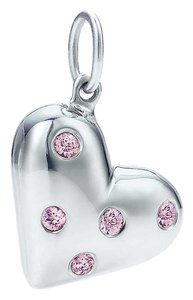Tiffany & Co. Tiffany & Co Sterling Silver Etoile Heart Charm with Pink Sapphires