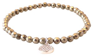 Tai Tai Pyrite Stretch Bracelet with CZ Disc