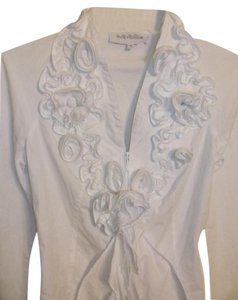 Anne Fontaine Paris Rufflle Floral Top White