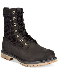 Timberland Lace Up Mesh Femmes Leather Black Boots