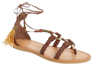 Dolce Vita Wrap Up Lace Up Tassels Leather Bucke BROWN Sandals