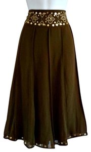 Worthington Flowy Boho Beaded Beads Skirt Green