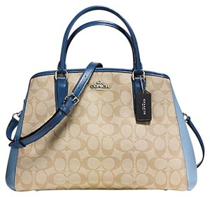 Coach Carryall Paent Leather Emossed Lether 34607 Satchel in Midnight blue silver tone