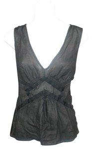 BCBGMAXAZRIA Silk Sleeveless Shirt Tank Top Black