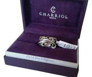 Charriol Geneve Swiss Designed Tango Black Spinel Multi Row Cable Ring
