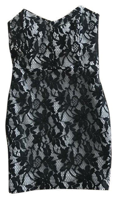 Item - Platinum Silver with A Black Lace Overlay Strapless Short Cocktail Dress Size 2 (XS)