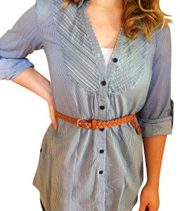 Forever 21 Button Down Shirt Grey/Blue and White stripes