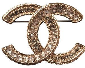 Chanel CHANEL Authentic Crystal CC Gold Brooch New