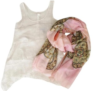 JLo Set: Ruffled Top White and Multicolor Pink Printed Scarf