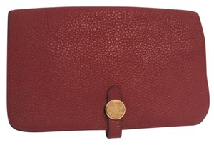 Hermès Hermes Red Leather Duo Dogon Wallet