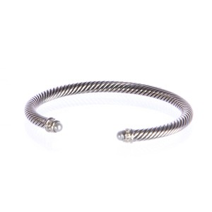 David Yurman Pearl Sterling Silver Cable Classics Bracelet 5mm Sz Medium $625 NEW