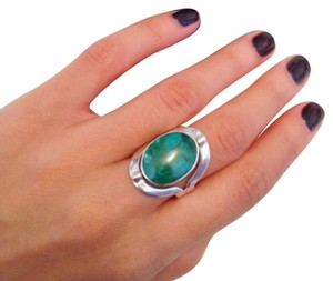 PERUVIAN Sterling Boho Gypsy Silver Turquoise Pearl Ring