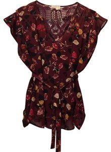 Anthropologie Blouse Anthropologie Summer Lace Top Wine with multi floral