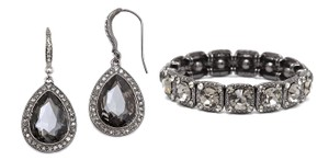 Mariell Black Diamond Crystal Earrings And Bracelet Jewelry Set
