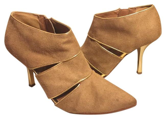 """Item - Tan/Gold """"Suede"""" 3.5"""" Stiletto Heel Ankle Boots/Booties Size US 8 Regular (M, B)"""