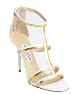 Jimmy Choo Thistle Gold Hardware Strappy Ankle Cage White, Gold Sandals