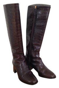 Massimo Dutti Embossed Leather Brown Boots