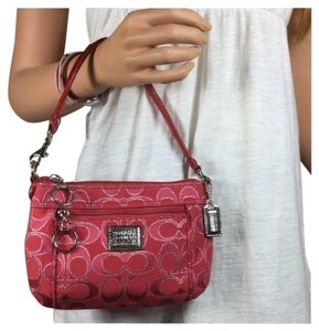 Coach Poppy Red Metallic Signature Wristlet in Ruby
