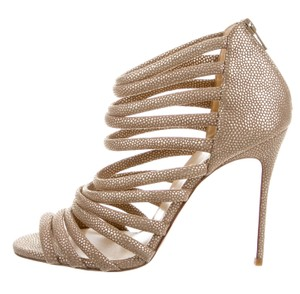 Christian Louboutin Gold Hardware Textured Metallic Strappy Ankle Gold, Beige Sandals
