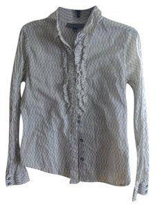 Proenza Schouler for Target Ruffle Longsleeve Lightweight Button Down Shirt Tan and White
