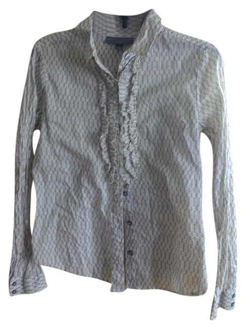 Item - Tan and White Button-down Top Size 12 (L)