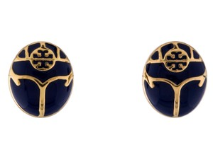 Tory Burch Gold-tone Tory Burch Reva logo blue enamel stud earrings