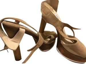 Jimmy Choo Heel Suede Cork beige/brown/tan Sandals