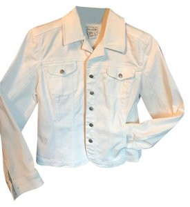 Live A Little Stretchy White Womens Jean Jacket