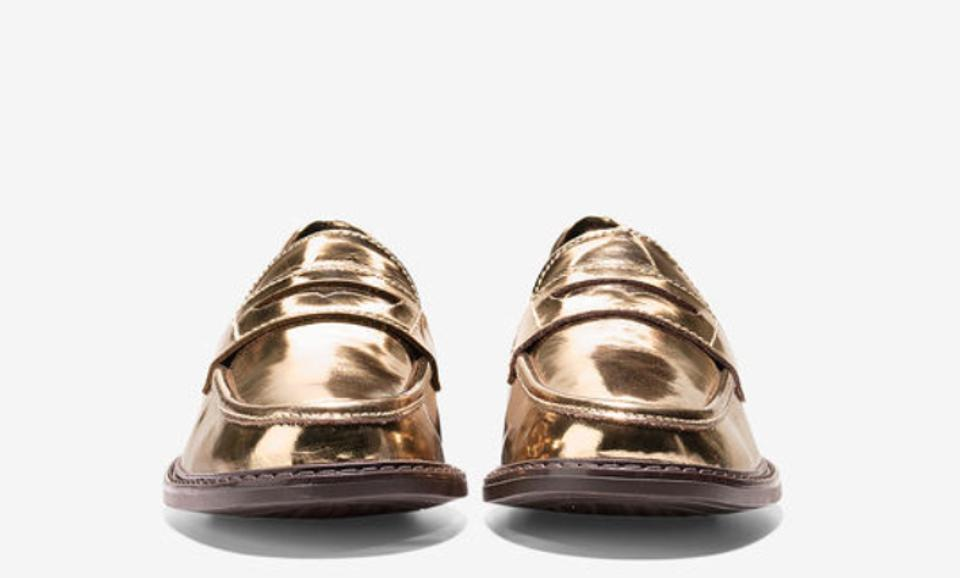 e4b4646907f Cole Haan Loafer Pinch Campus Penny Leather Gold Flats Image 11.  123456789101112