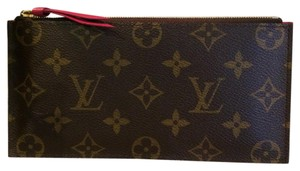 Louis Vuitton Felicie wallet pouch insert fuschia checkbook coin card monogram canvas leather