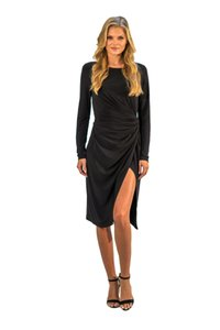 Amy Matto High Slit Hits Below The Knee Body Con Dress